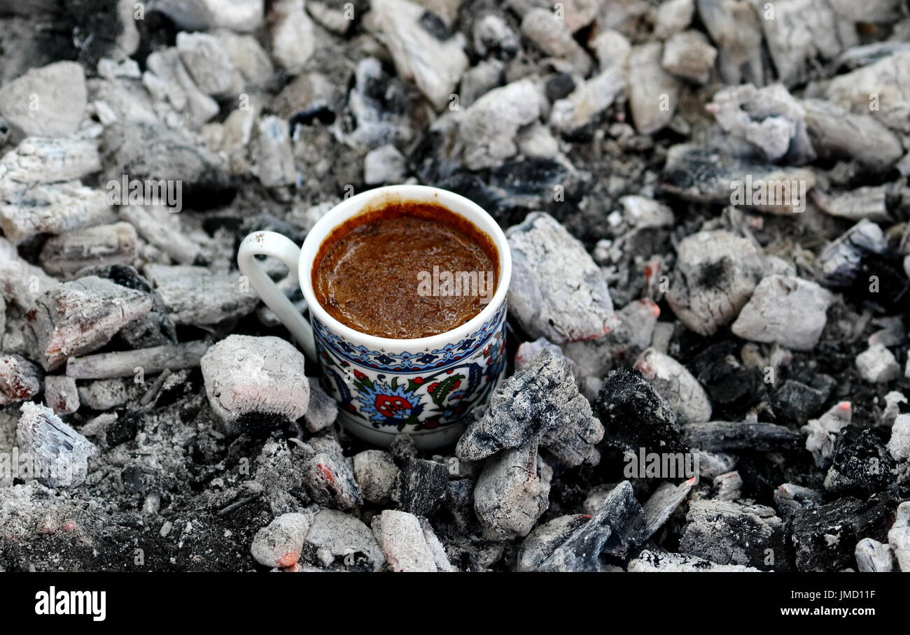 Traditional way of making the best turkish coffee... - Stock Image