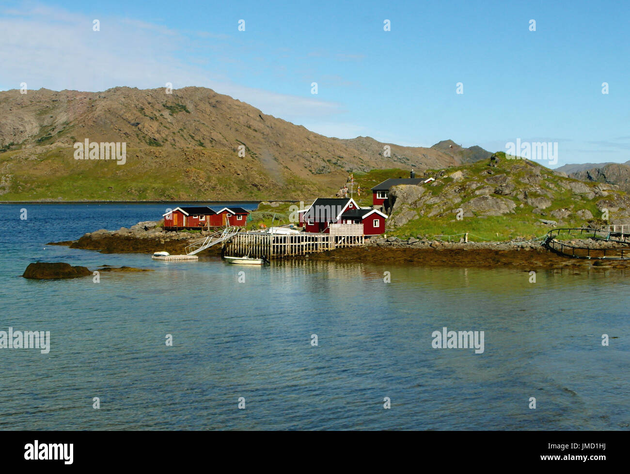 Norwegian Wooden Houses of a Small Fishing Village at North Cape, Honningsvag of Norway - Stock Image
