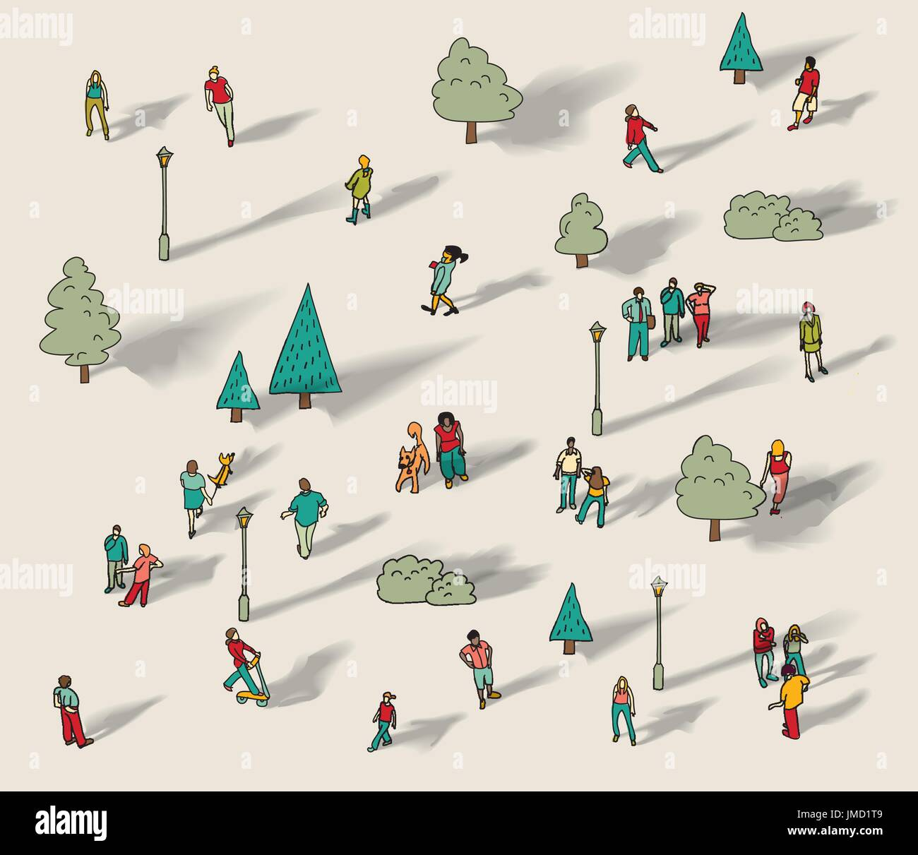 People walk in city park isolate - Stock Vector