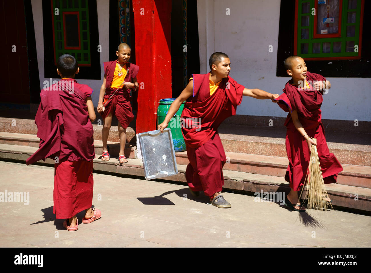Young Buddhist monks playing while doing chores, Dharma Chakra Center, Rumtek, Sikkim, India - Stock Image
