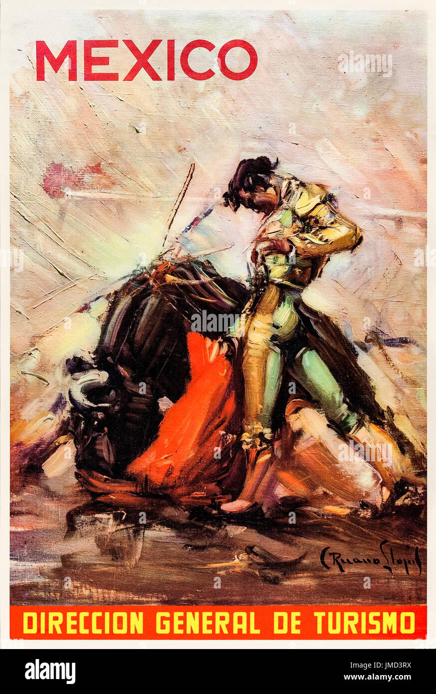 'Mexico – Direccion General de Turismo' Tourism Poster released circa 1959 by the Mexican Secretary of Tourism featuring a painting of a Matador and bull by Spanish artist Carlos Ruano Llopis (1879-1950). - Stock Image