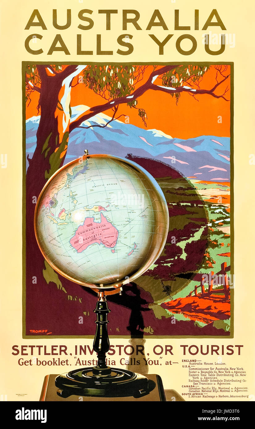 'Australia Calls You. Settler, Investor or Tourist' 1928 Tourism Poster released by Australian National Railways Commission designed by Percy Trompf (1902-1964). - Stock Image