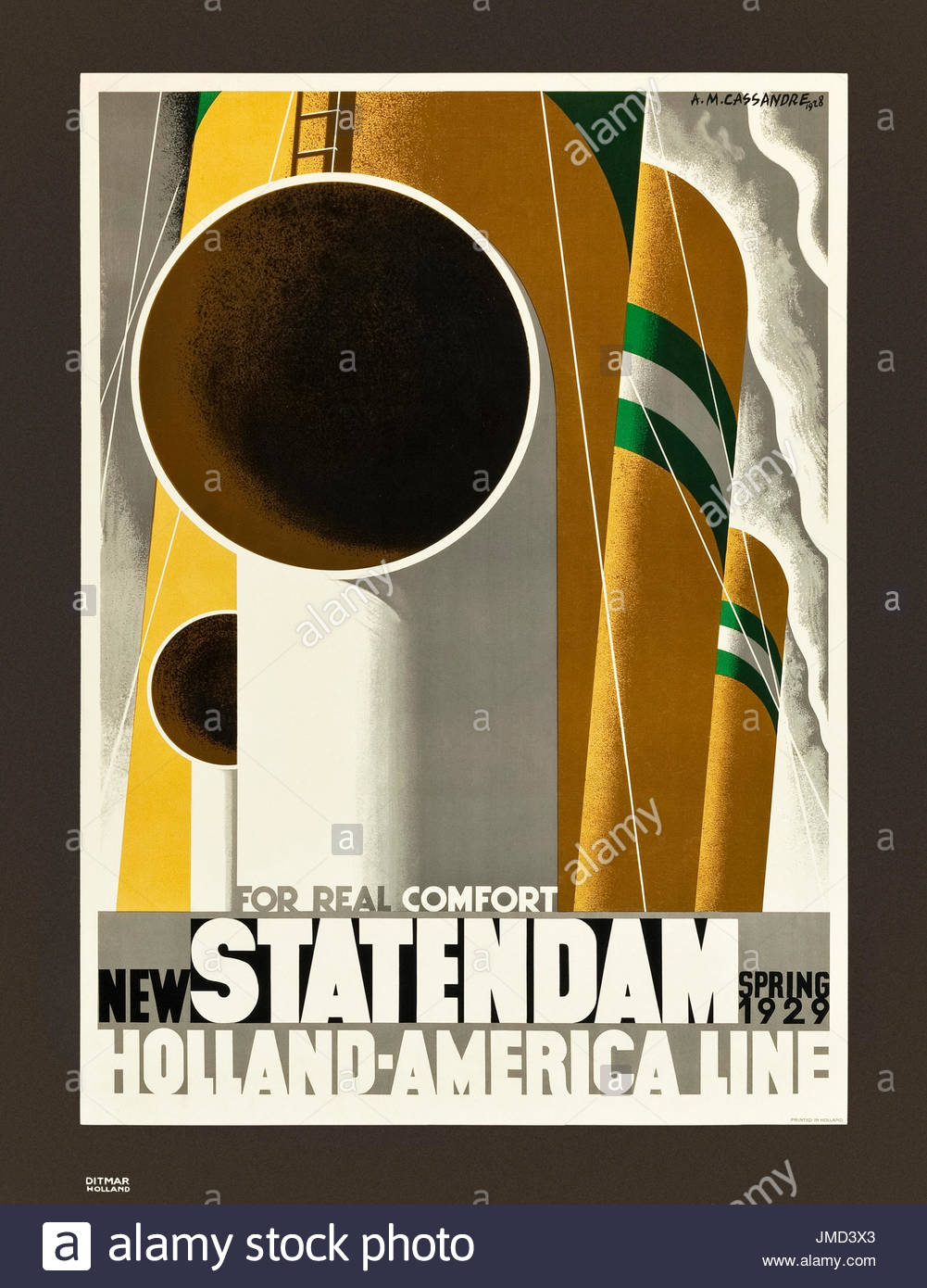 'For Real Comfort New Statendam' Holland America Line poster promoting the launch of the Statendam in Spring 1929. Designed by Adolphe Mouron Cassandre (1901-1968). - Stock Image