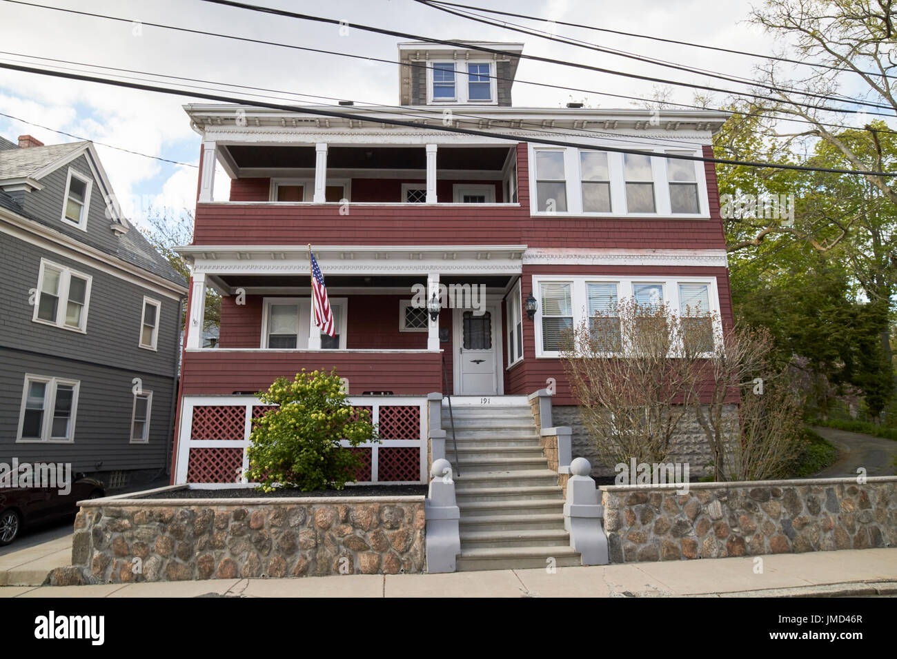 large victorian home with us flag savin hill avenue affluent residential victorian neighborhood Boston USA - Stock Image