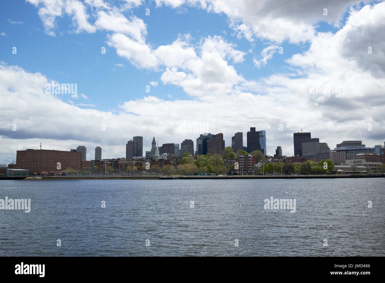 view of langone park and north end Boston from across the charles river USA - Stock Image