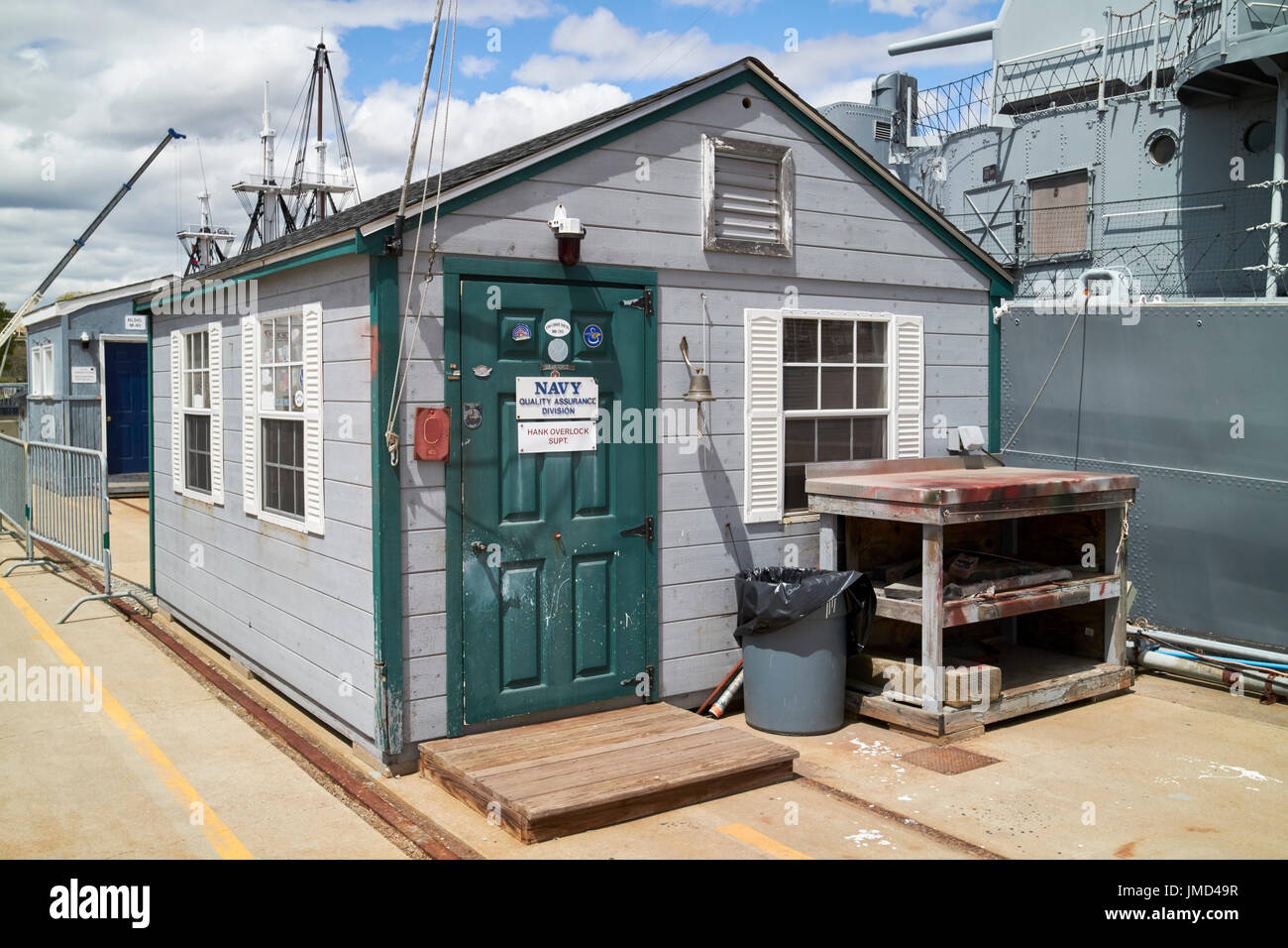small wooden navy quality assurance division hut on quayside Charlestown navy yard Boston USA Stock Photo
