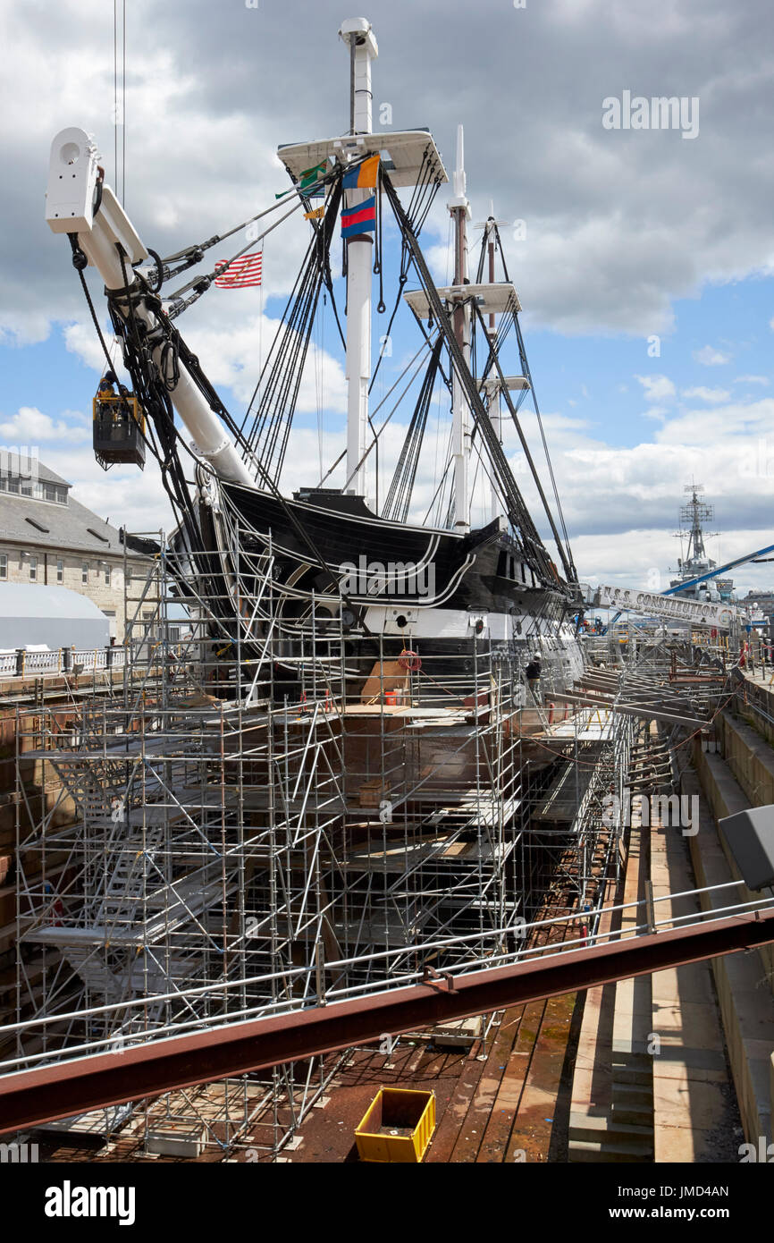 USS Constitution in dry dock Charlestown navy yard Boston USA - Stock Image