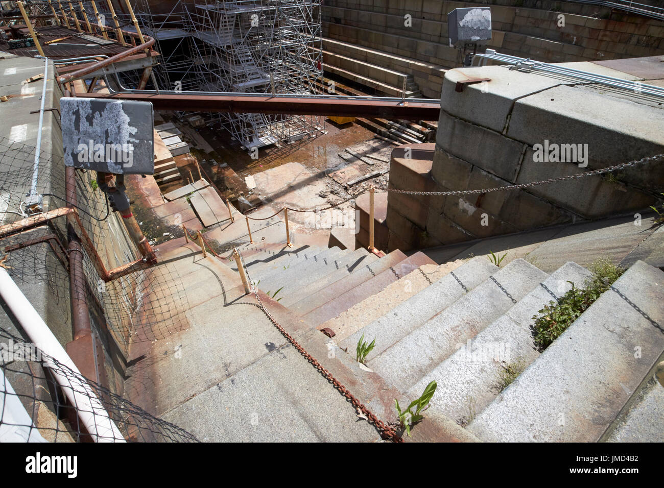 steps down to dry dock number 1 Charlestown navy yard Boston USA - Stock Image