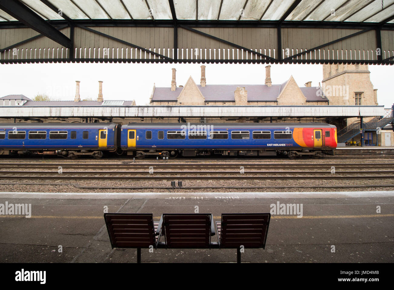 An East Midlands Train pictured at Lincoln Train Station - Stock Image