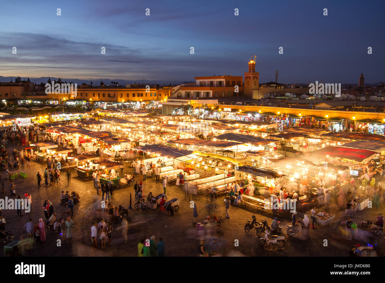 Jamaa el Fna market square at dusk, Marrakesh, Morocco, north Africa. - Stock Image
