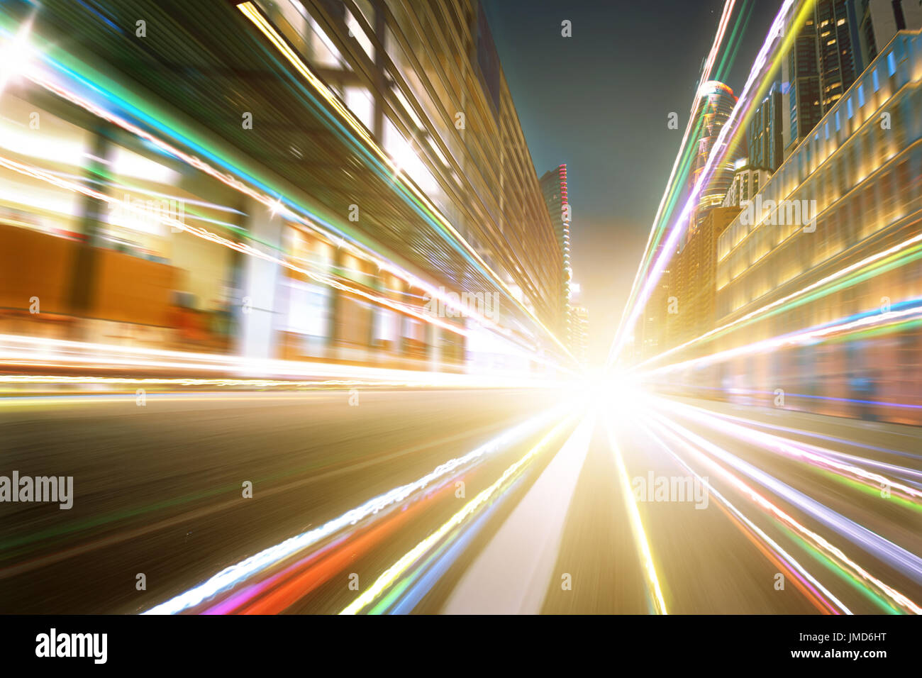 Warm mood city street motion blur background and light trail effect . - Stock Image