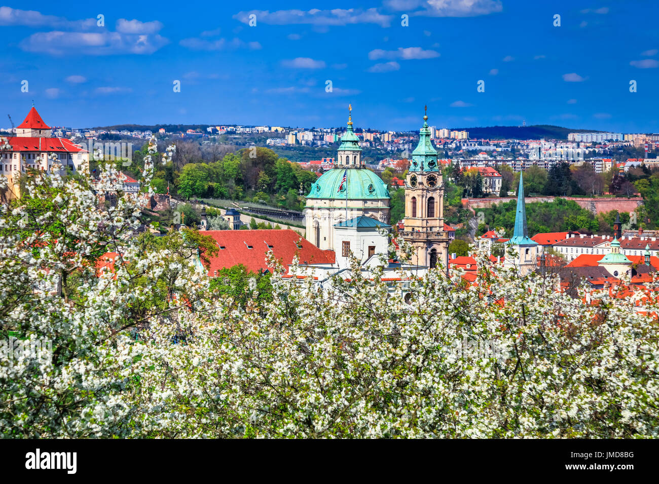Europe, Czech Republic, Czechia, Prague, Praha, UNESCO, Petrin, Panorama, Church of Saint Nicholas, Kostel Svateho Stock Photo