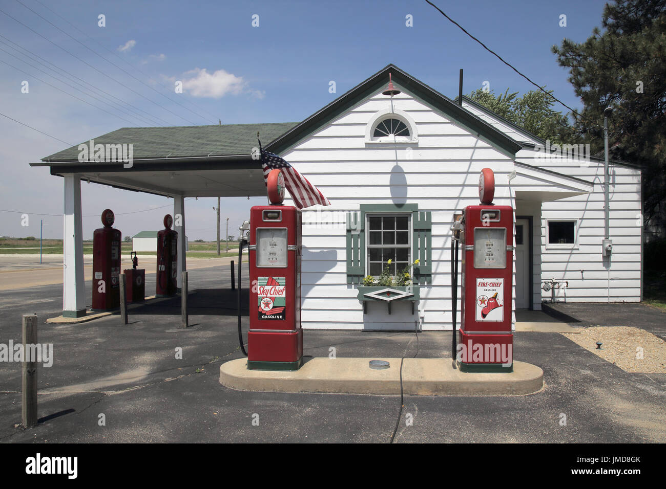 refurbished gas station in dwight on route 66 illinois - Stock Image