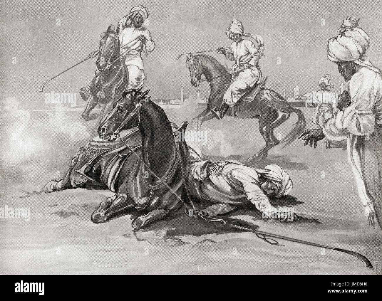 The death of Quṭb al-Dīn Aibak as a result of a fall from his horse while playing Chaugan.  Quṭb al-Dīn Aibak also spelt Quṭb ud-Dīn Aibak or Qutub ud-Din Aybak, 1150–1210.  Founder of the Mamluk dynasty of the Delhi Sultanate.  From Hutchinson's History of the Nations, published 1915. - Stock Image