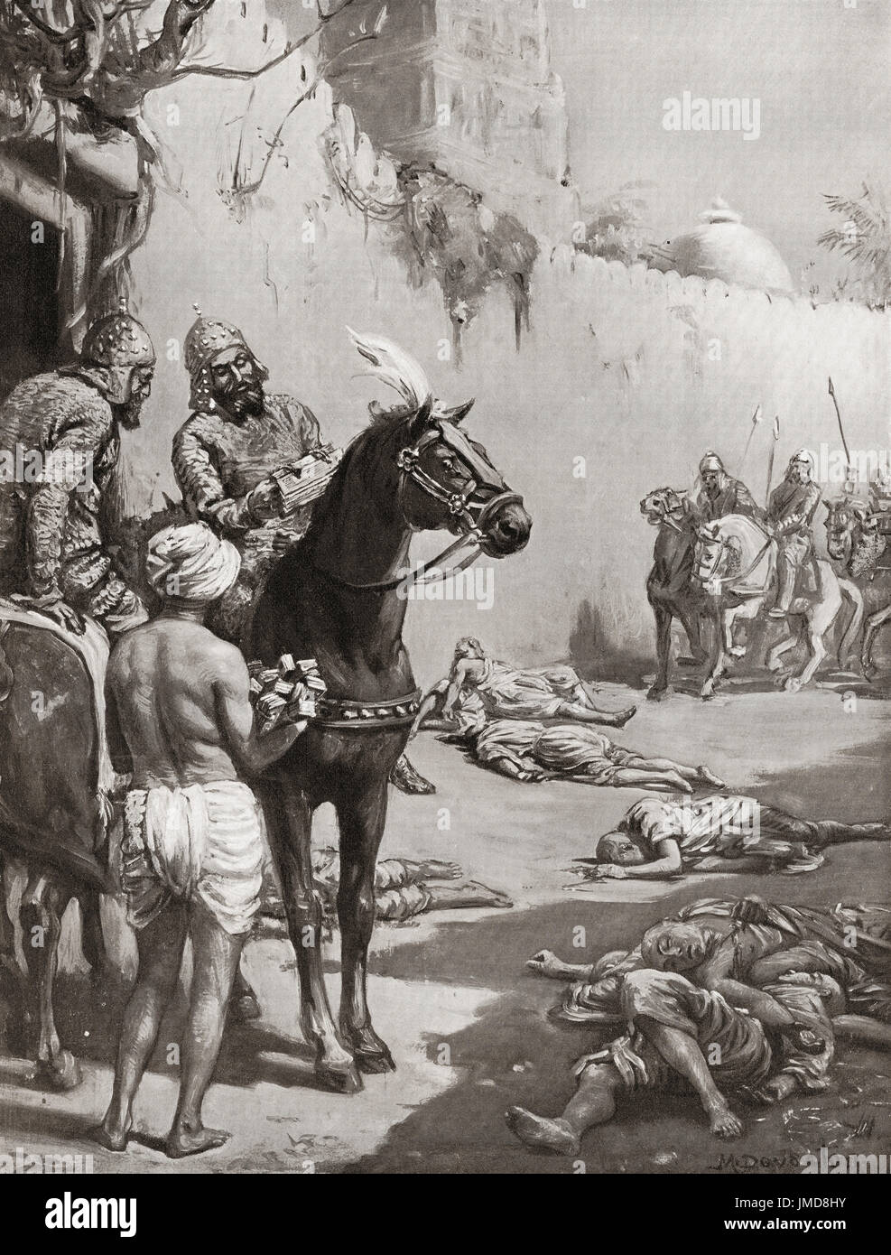The end of Buddhist Monks in India in 1193 when Muhammad bin Bakhtiyar Khilji invaded  Bihar, India and massacred them all.  Ikhtiyar al-Din Muhammad bin Bakhtiyar Khilji, aka Malik Ghazi Ikhtiyar 'l-Din Muhammad Bakhtiyar Khilji, Muhammad Bakhtiyar Khilji or simply Bakhtiyar Khilji (died 1206). Turkic  military general.  After the painting by Margaret Dovaston (1884-1954).   From Hutchinson's History of the Nations, published 1915. - Stock Image