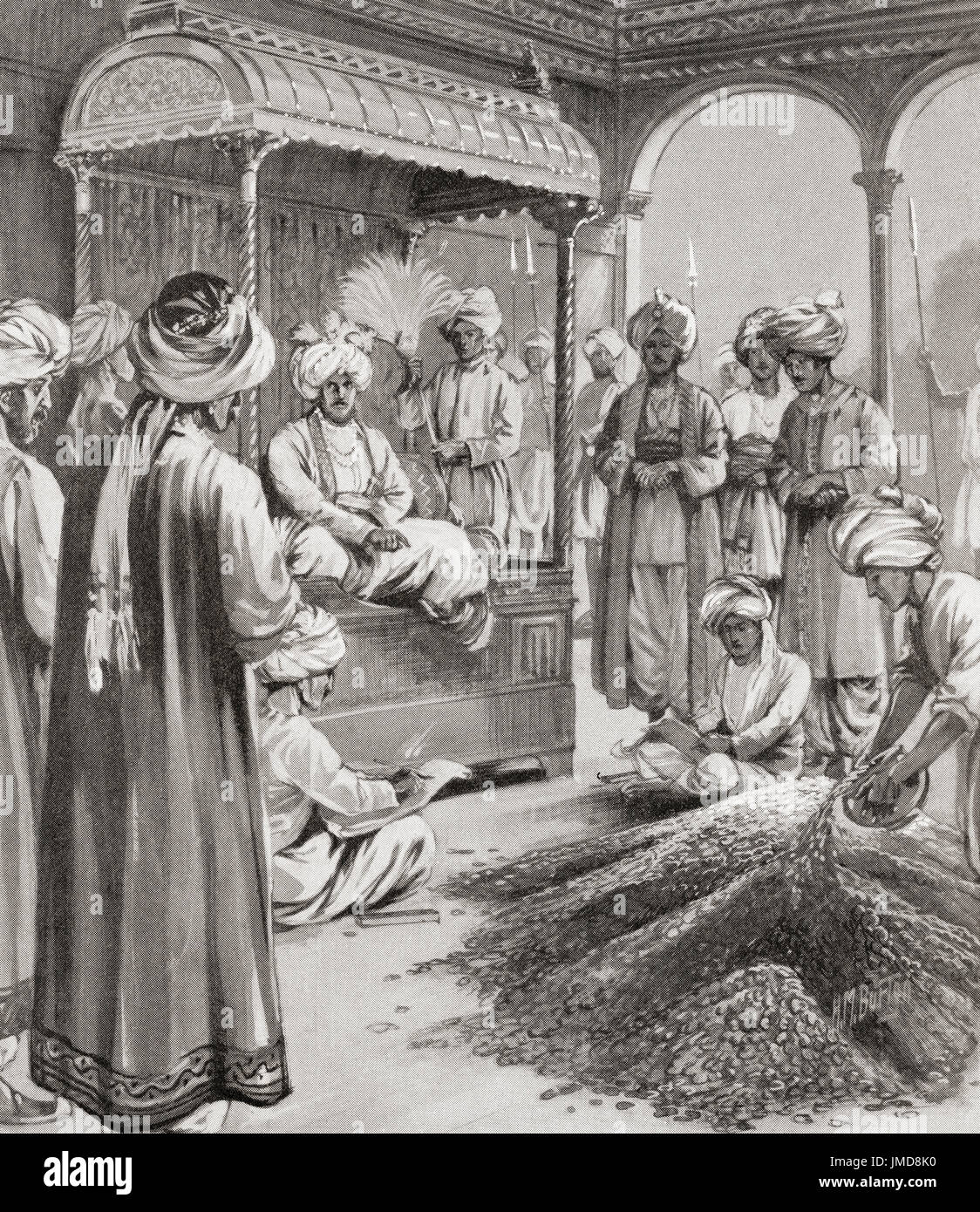 Muhammad bin Tughluq, aka Prince Fakhr Malik, Jauna Khan, Ulugh Khan; died 20 March 1351.  Sultan of Delhi of Turkic descent.   Muhammad bin Tughluq issuing token currency; that is coins of brass and copper were minted whose value was equal to that of gold and silver coins, 1330 AD. From Hutchinson's History of the Nations, published 1915. - Stock Image