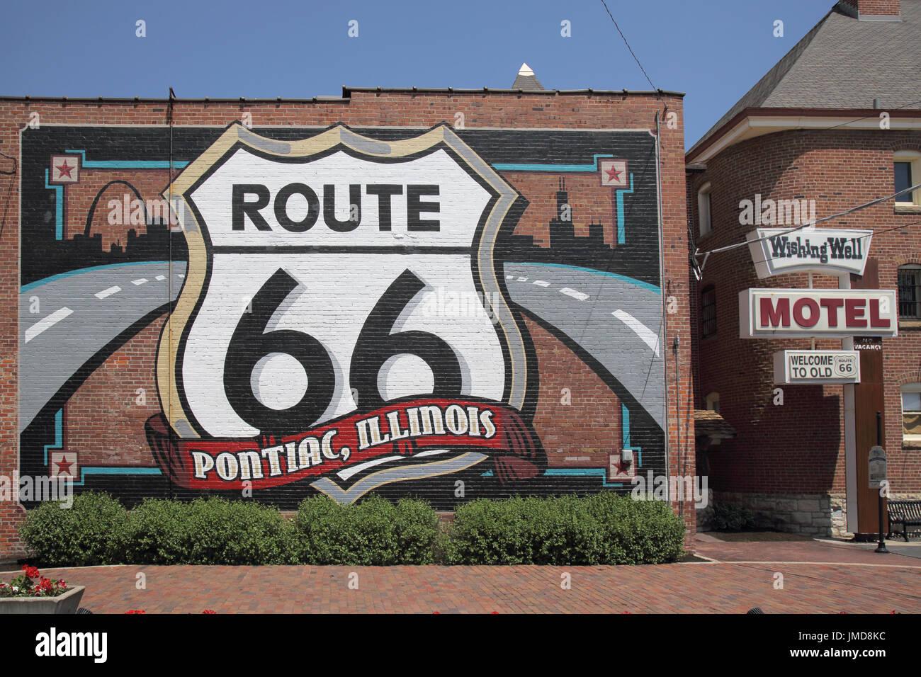 pontiac on route 66 illinois - Stock Image