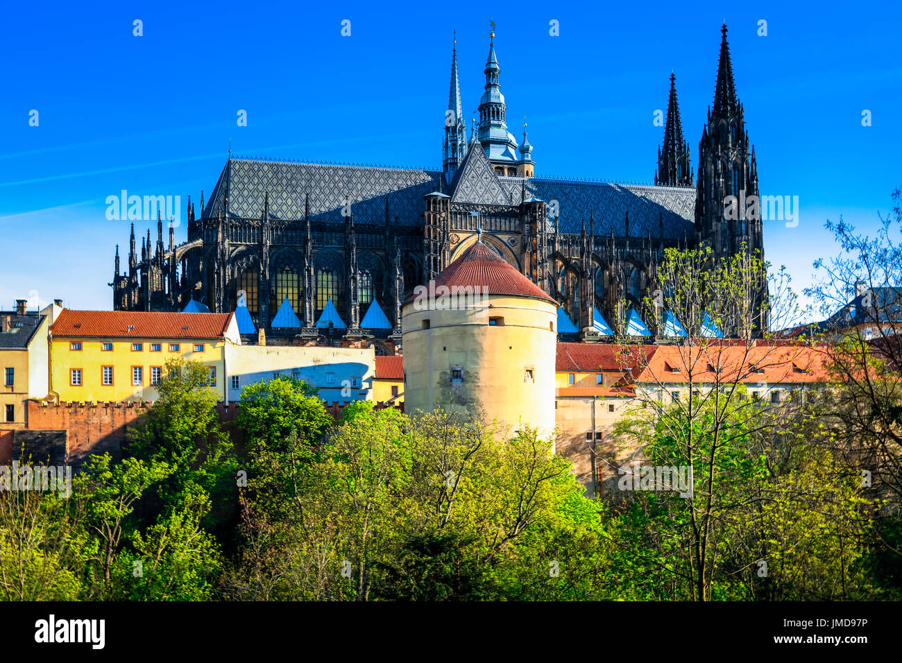 Europe, Czech Republic, Czechia, Prague, Praha, Historical Old Town, UNESCO, Prague Castle, Prazsky hrad, St. Vitus Stock Photo