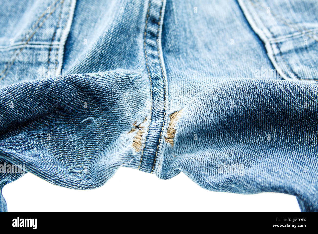 Seam jean texture on white background Stock Photo