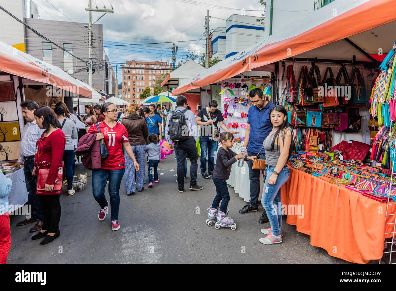 Bogota, Colombia  - February 6, 2017 : People shopping at Mercado de las Pulgas de Usaquen free market  in Bogota capital city of Colombia South America - Stock Image