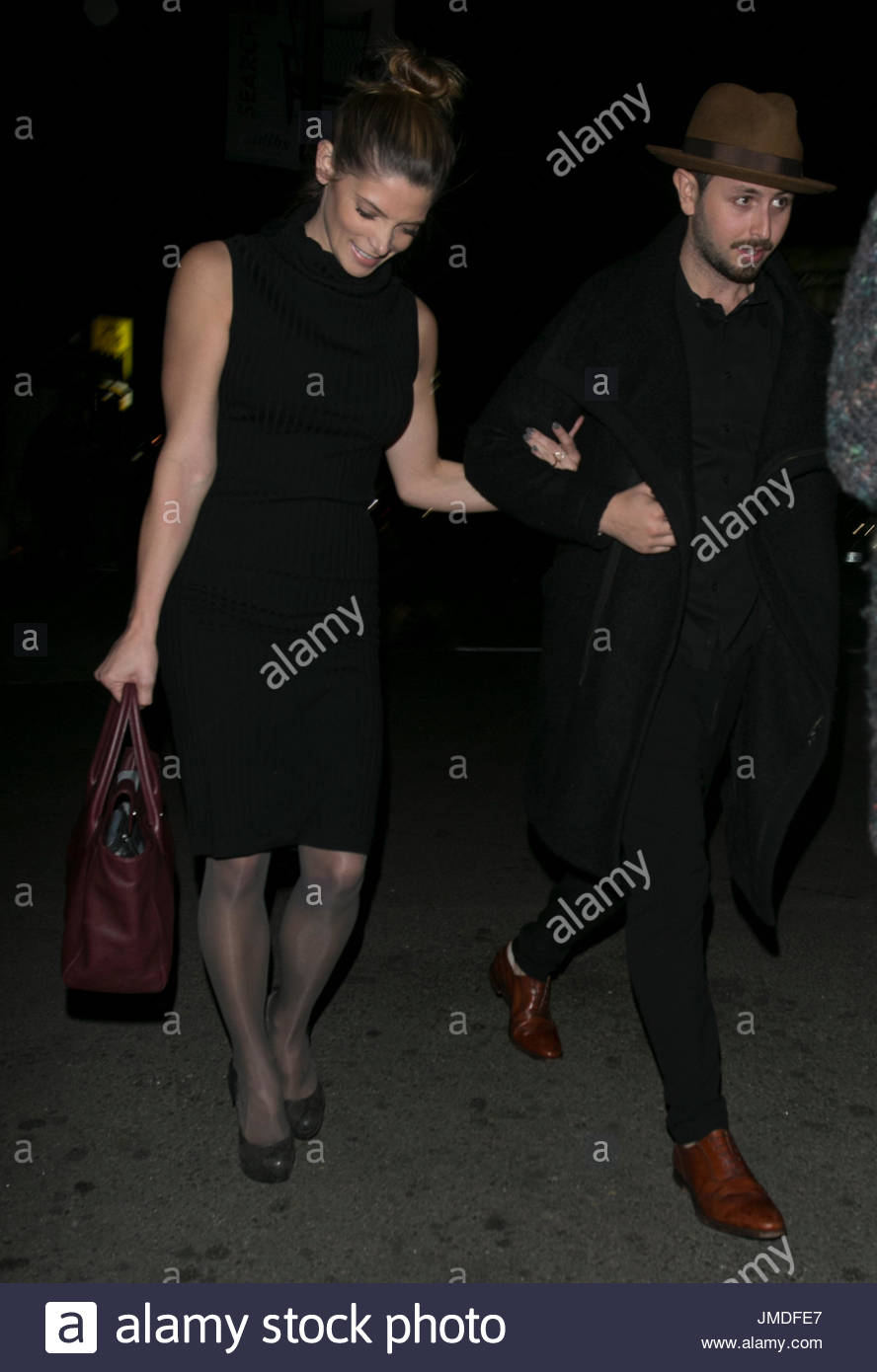Ashley Greene looked sensational as she stepped out with her TV actor boyfriend Paul Khoury at The nice Guy in LA!. - Stock Image