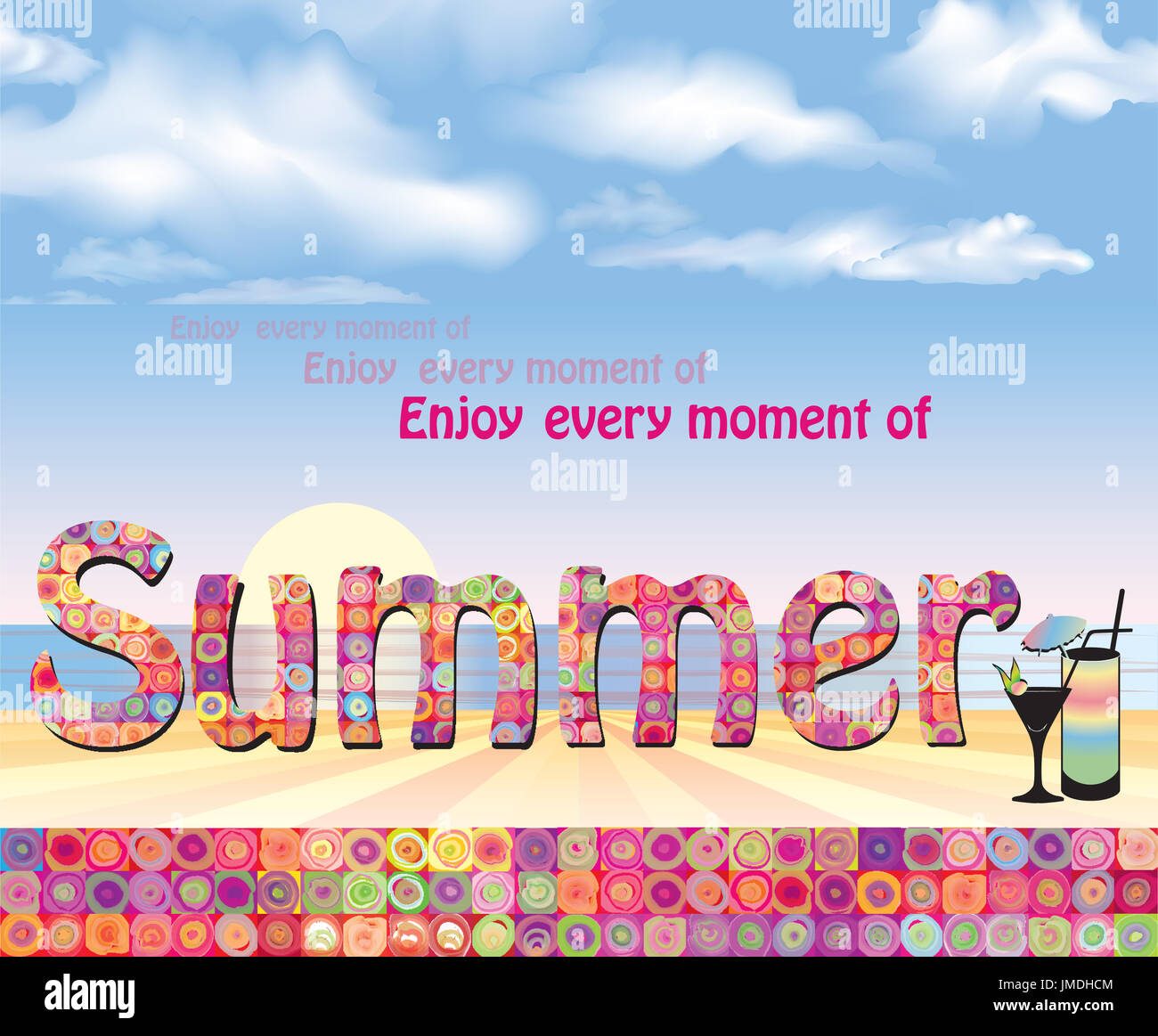 Beautiful Hello Summer Background. Summer Holidays Cover With Sun And Ray Beams. Hello  Summer Greeting Card.