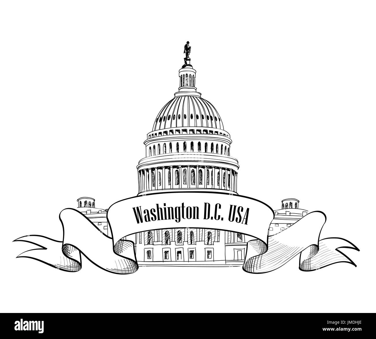 Washington DC symbol. United States Capitol (Capitol hill, U. S. Capitol dome). Vector hand drawn sketch isolated on white background. - Stock Image