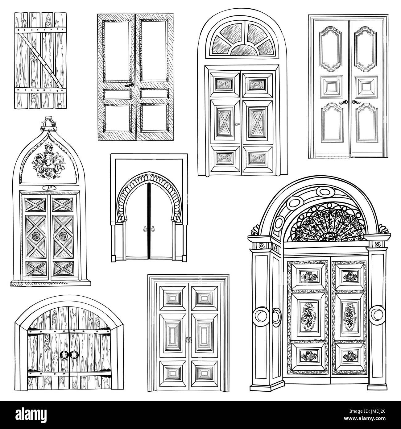 Door Set Collection Of Hand Drawn Sketch Vintage Doors