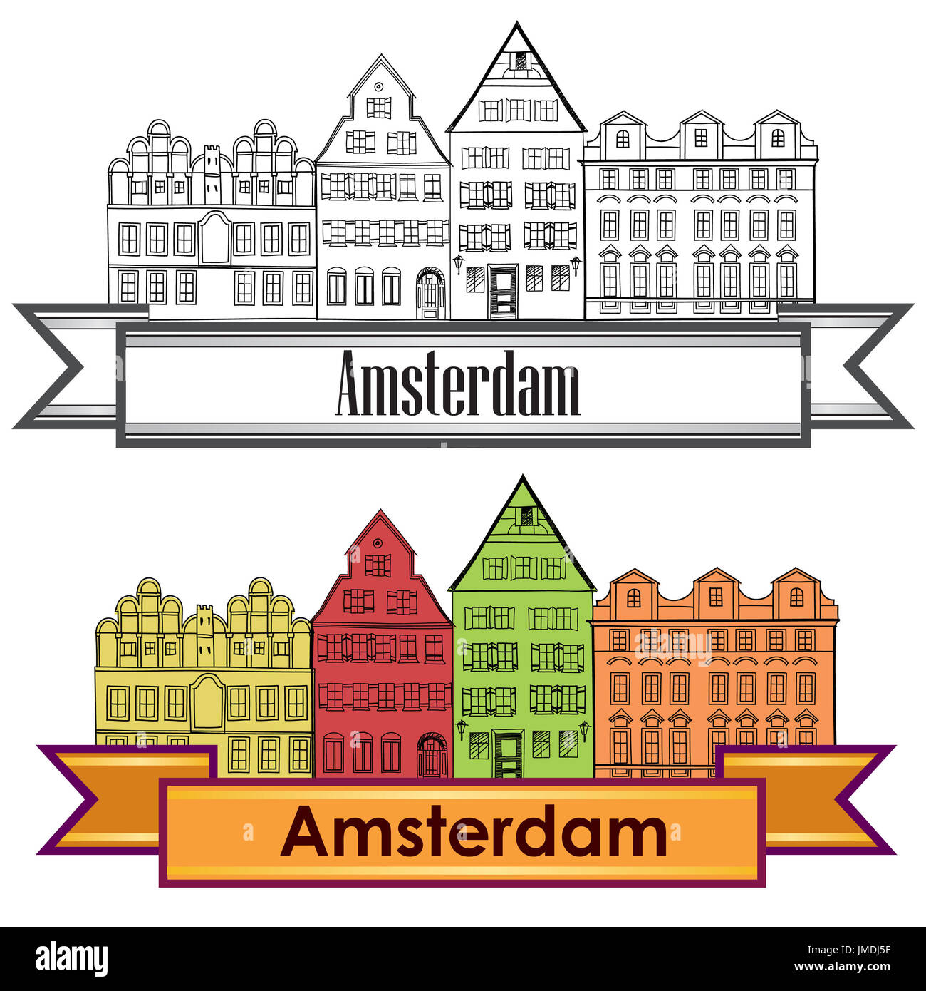 Amsterdam canal houses. Netherlands symbol. Travel Europe icon. - Stock Image