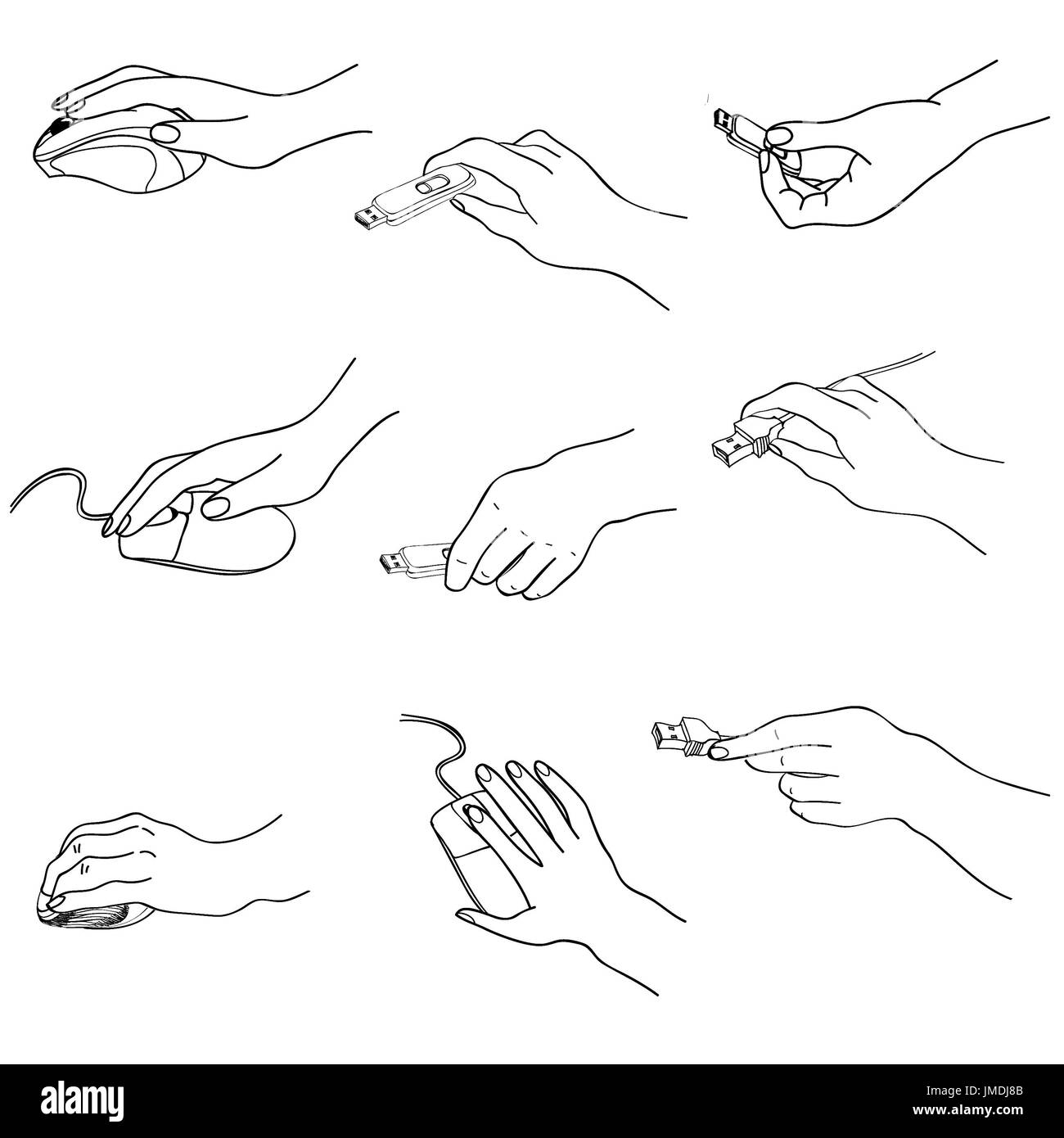 Hands set. Hand holding memory stick, computing, mouse ...Grabbing Hand Drawing