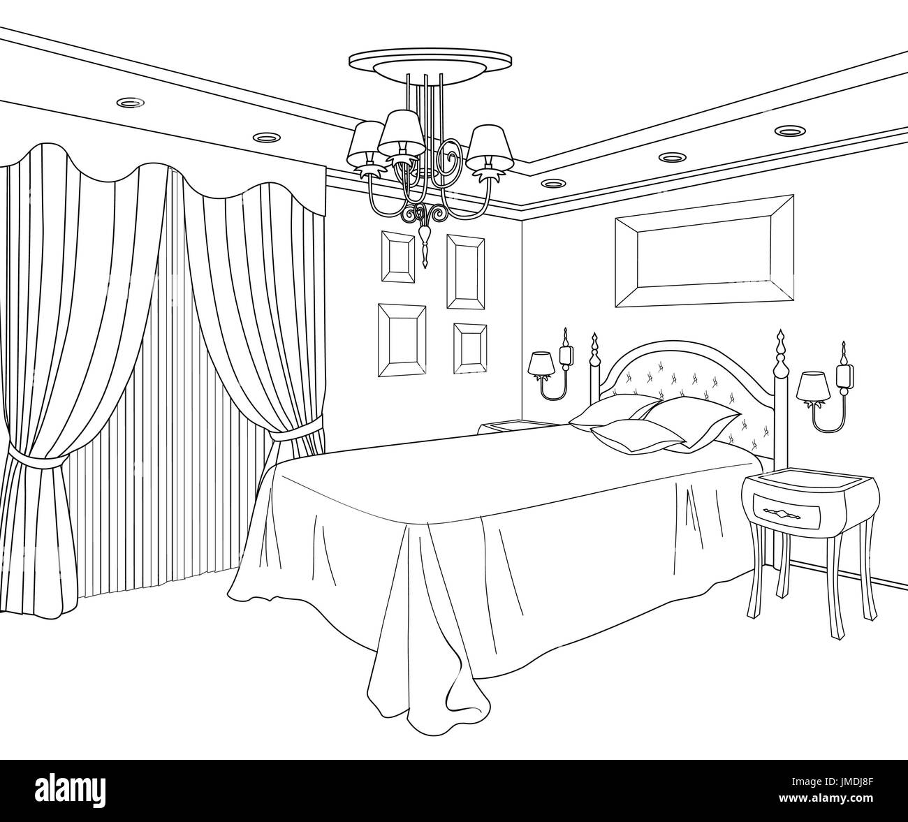 Bedroom furniture. Doodle line sketch of home interior ...