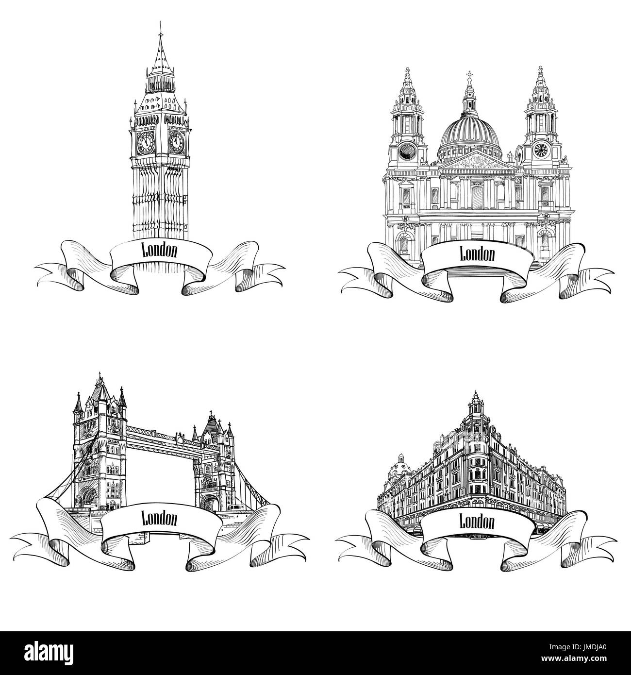 London famous buildings set. Engraving collection of London landmarks: Big Ben, Tower Bridge, St. Paul Cathedral, Harrods store. Travel UK icon collec - Stock Image