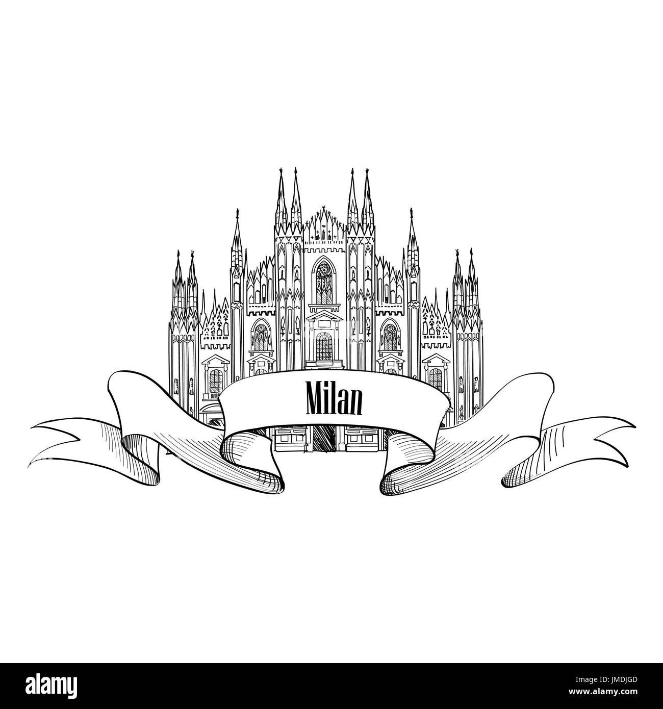 Milan symbol. Travel Italy icon. Hand drawn sketch. Duomo cathedral in Milan - Stock Image