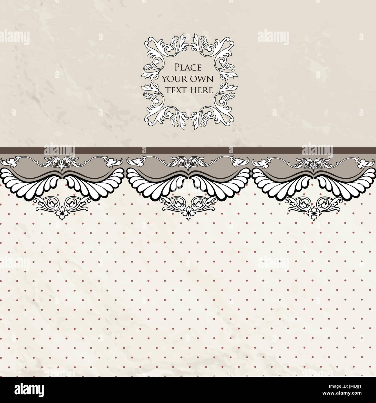 Floral Border On Vintage Background Old Paper With Patern In