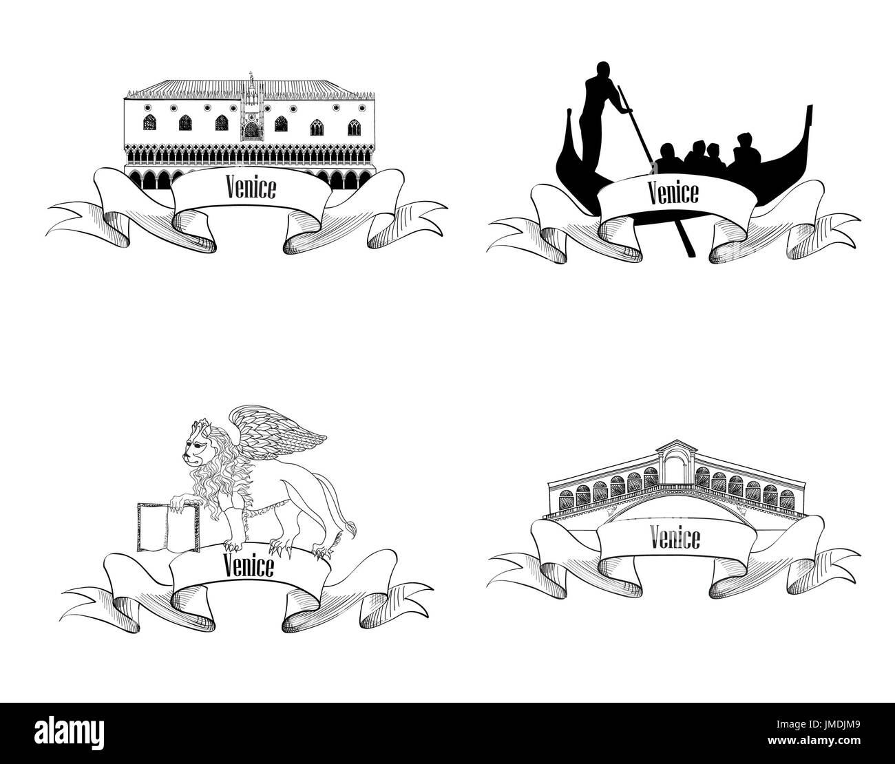 Venice symbol set. Gondola, Rialto Bridge, Doge palace, San Marco Lion. Venice landmarks. Travel Italy label sketch collection. City labels. - Stock Image
