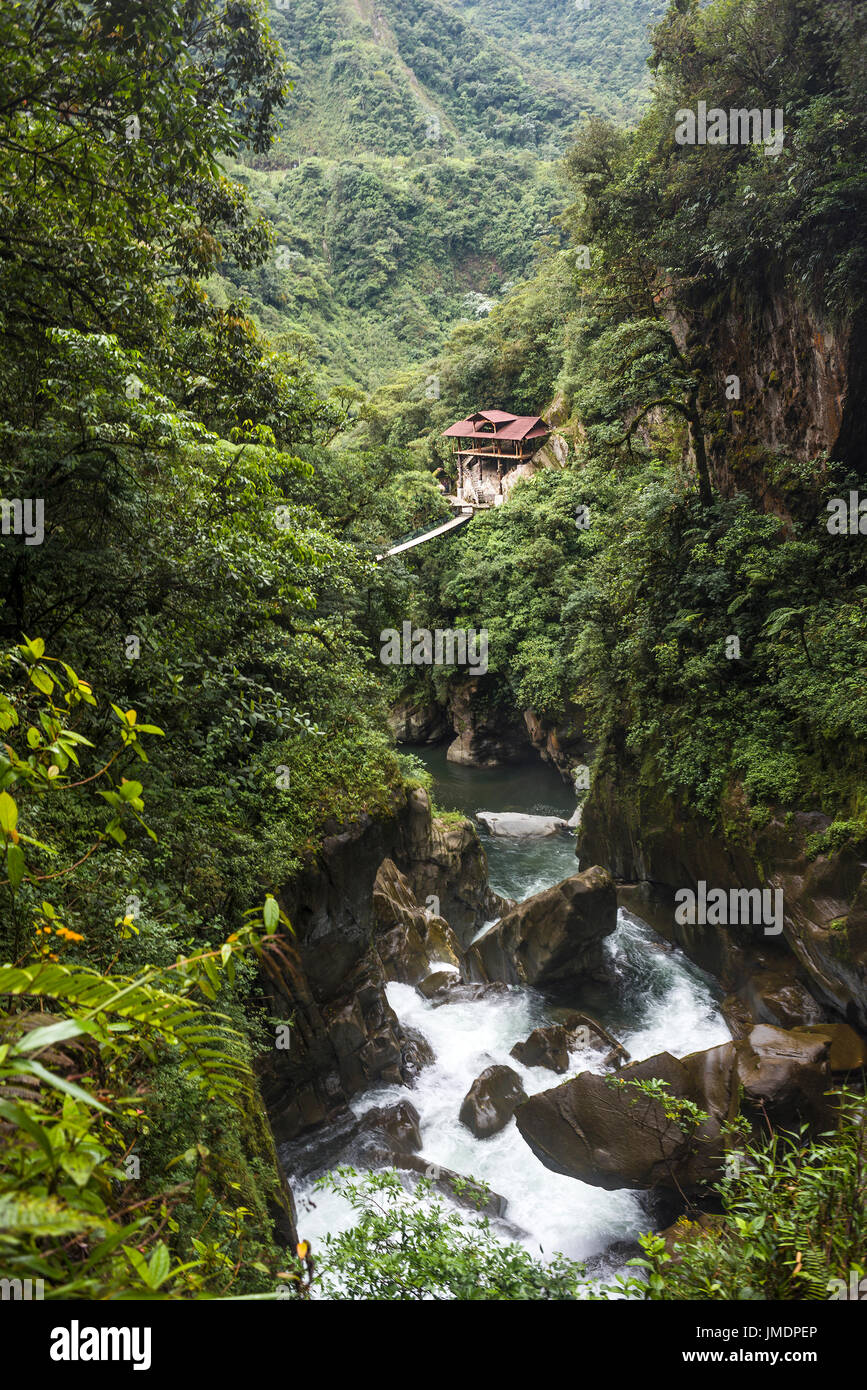 Devil's Cauldron waterfall (spanish: Pailon del Diablo) - Mountain river and fall in the Andes. Banos. Ecuador - Stock Image