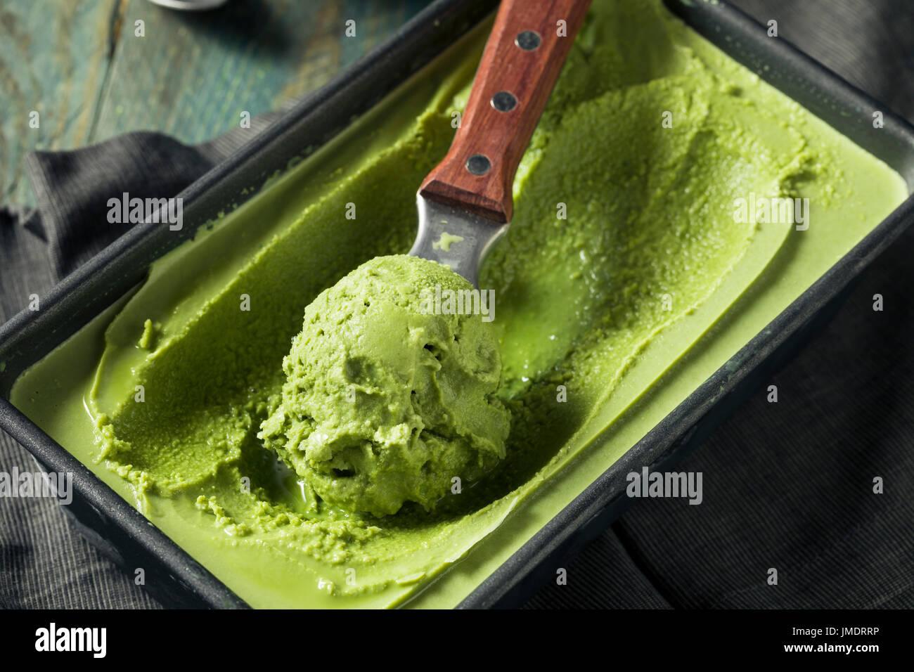 Homemade Grean Tea Matcha Ice Cream Ready to Eat - Stock Image