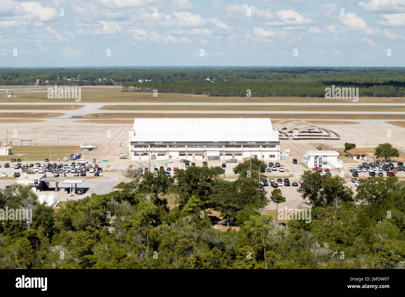 An overhead overlook of  military air base and hangars in Pensacola Florida. - Stock Image
