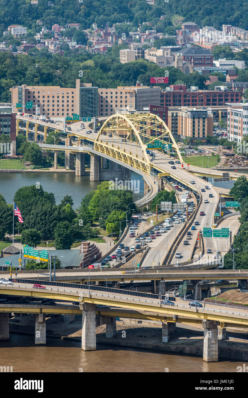 Fort Duquesne Bridge, Pittsburgh - Stock Image