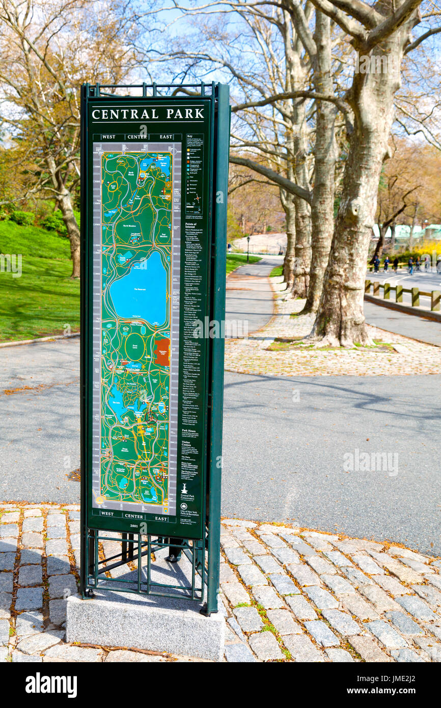 Central Park in New York City - map kiosk to help people find points of interest in the park - Stock Image