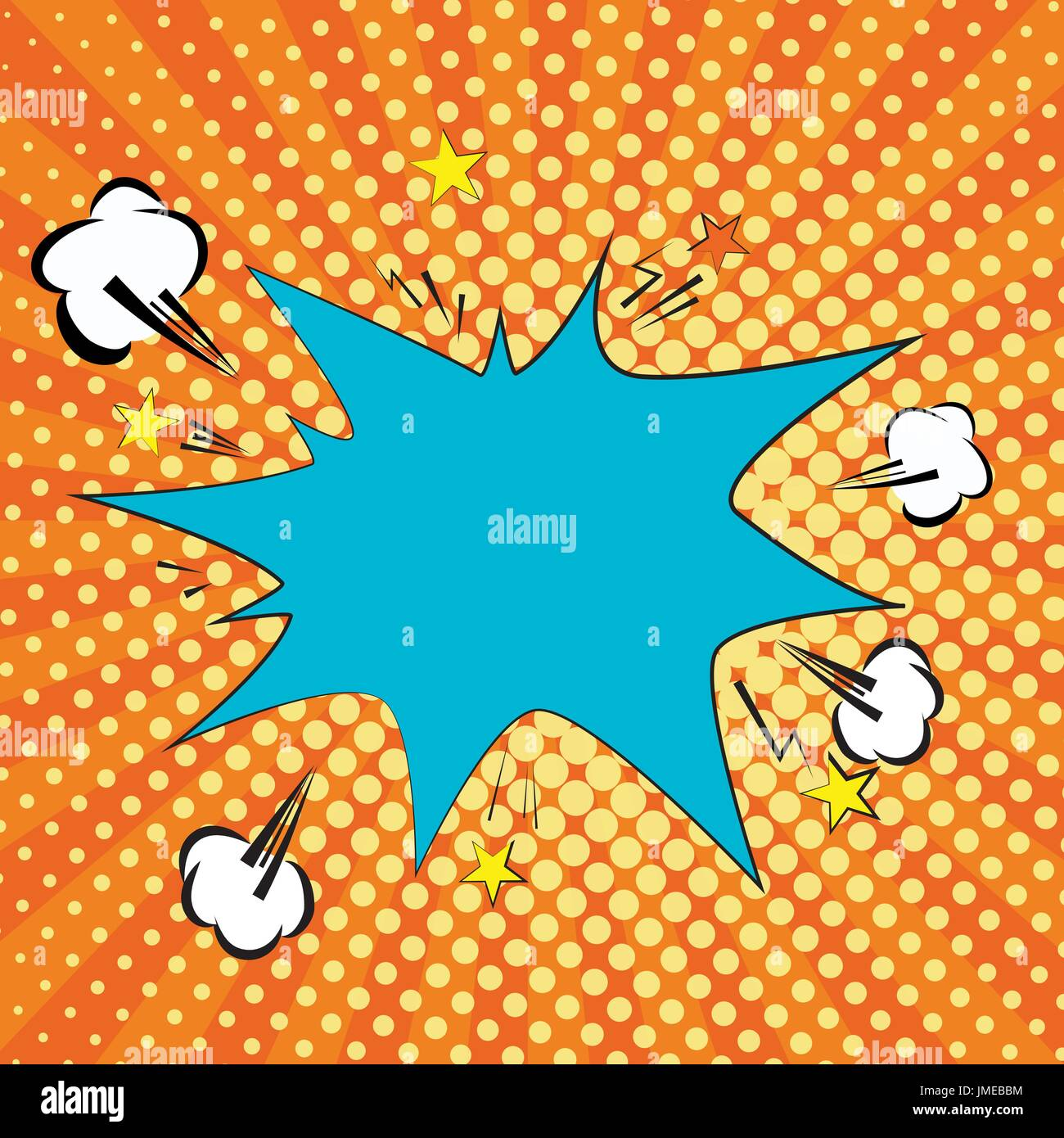 Orange, yelow rays and dots pop art background. clouds and speech star bubble for text. retro vector illustration for design - Stock Image