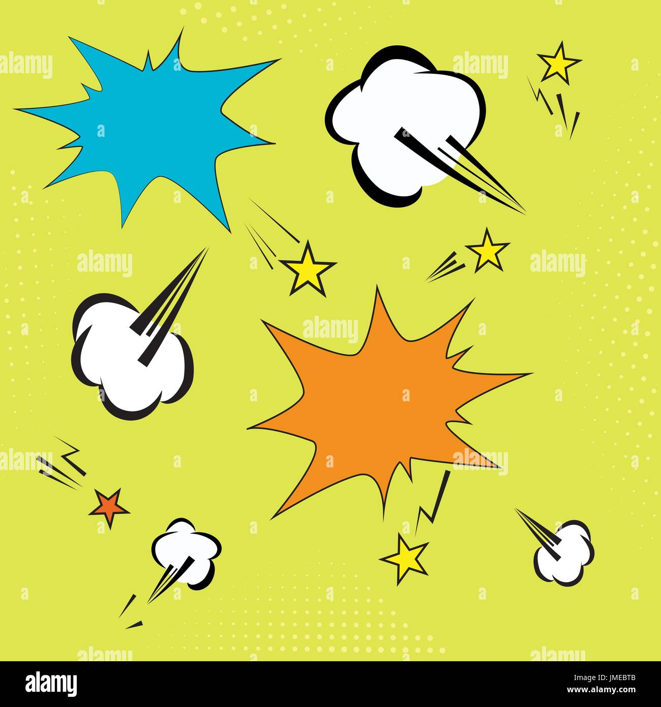background with pop art elements. yelow dots, clouds and speech star bubble for text. retro vector illustration for design - Stock Image