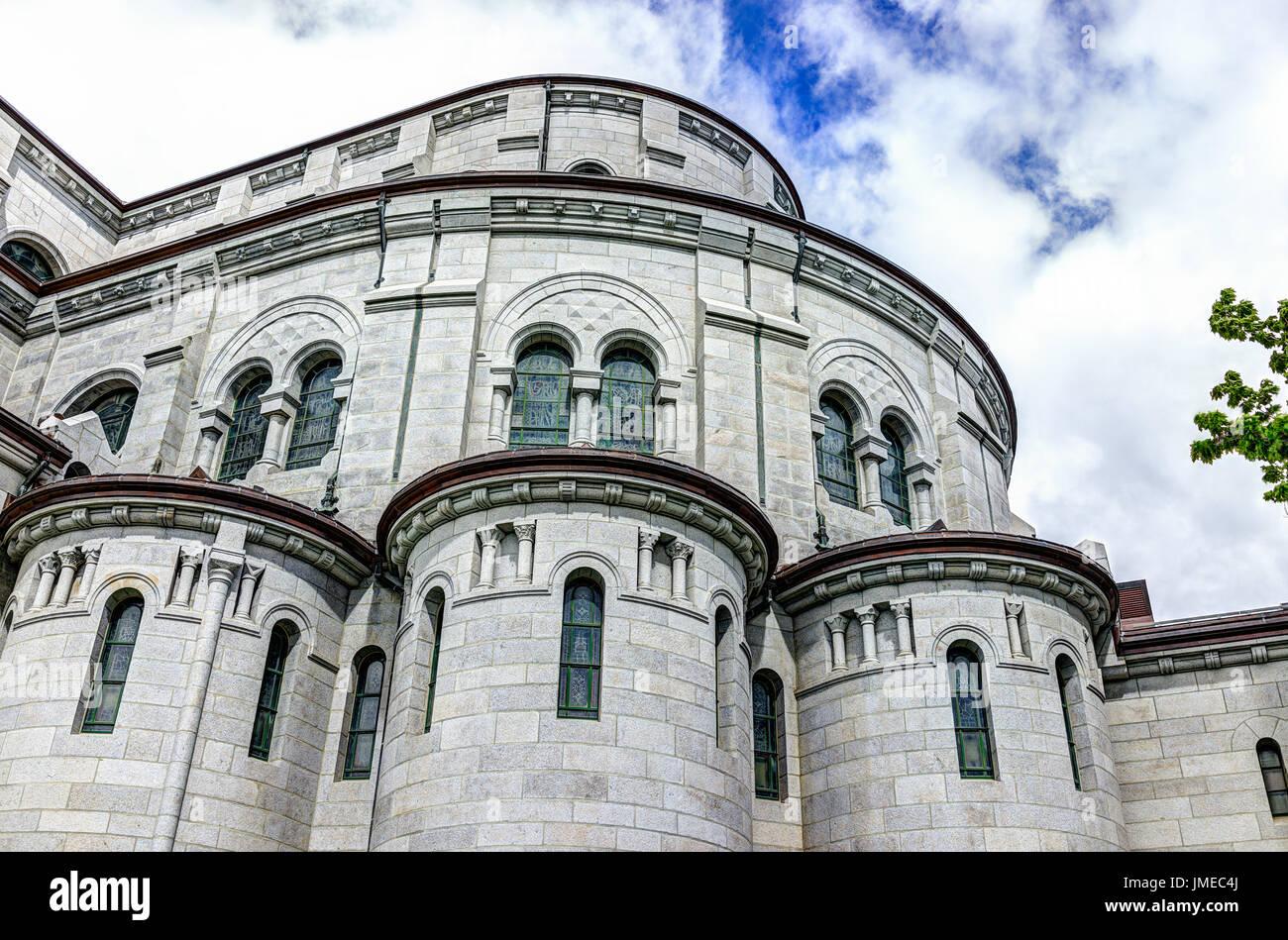 Sainte-Anne-de-Beaupre, Canada - June 2, 2017: Exterior stone architecture of Basilica of Sainte Anne de Beaupre Stock Photo