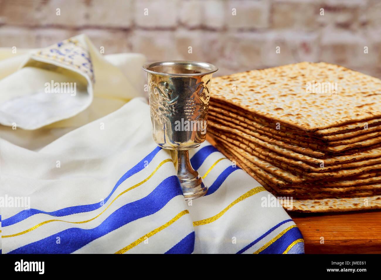 wine and matzoh jewish passover bread Passover matzo Passover wine - Stock Image