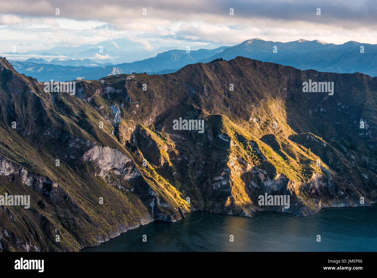 Early morning on the Quilotoa volcano caldera and lake, Andes. Ilinizas Nature Reserve, Ecuador - Stock Image