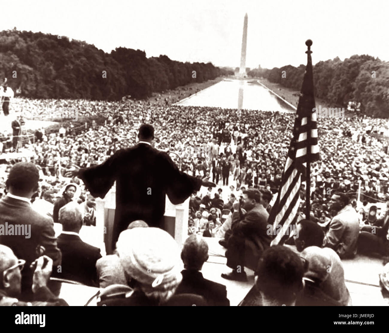 Dr. Martin Luther King Jr. at the Prayer Pilgrimage for Freedom rallly on May 17, 1957 as he delivers his 'Give Us the Ballot' speech from the steps of the Lincoln Memorial in Washington, D.C. Approximately 25,000 were in attendance as Dr. King, the last speaker, gave his first national address. - Stock Image