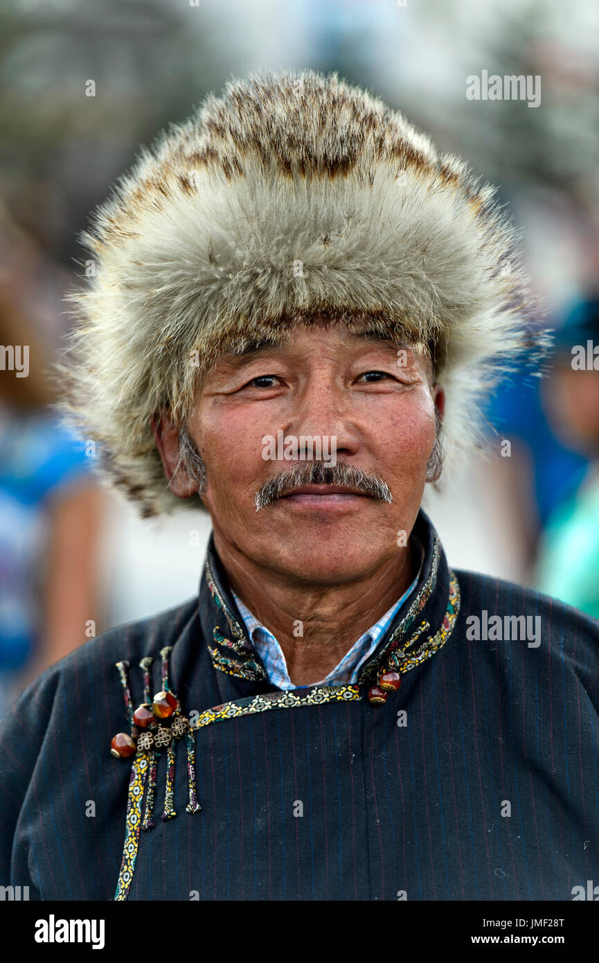 Mongolian man with a traditional fur hat, Mongolian National Costume Festival, Ulaanbaatar, Mongolia - Stock Image