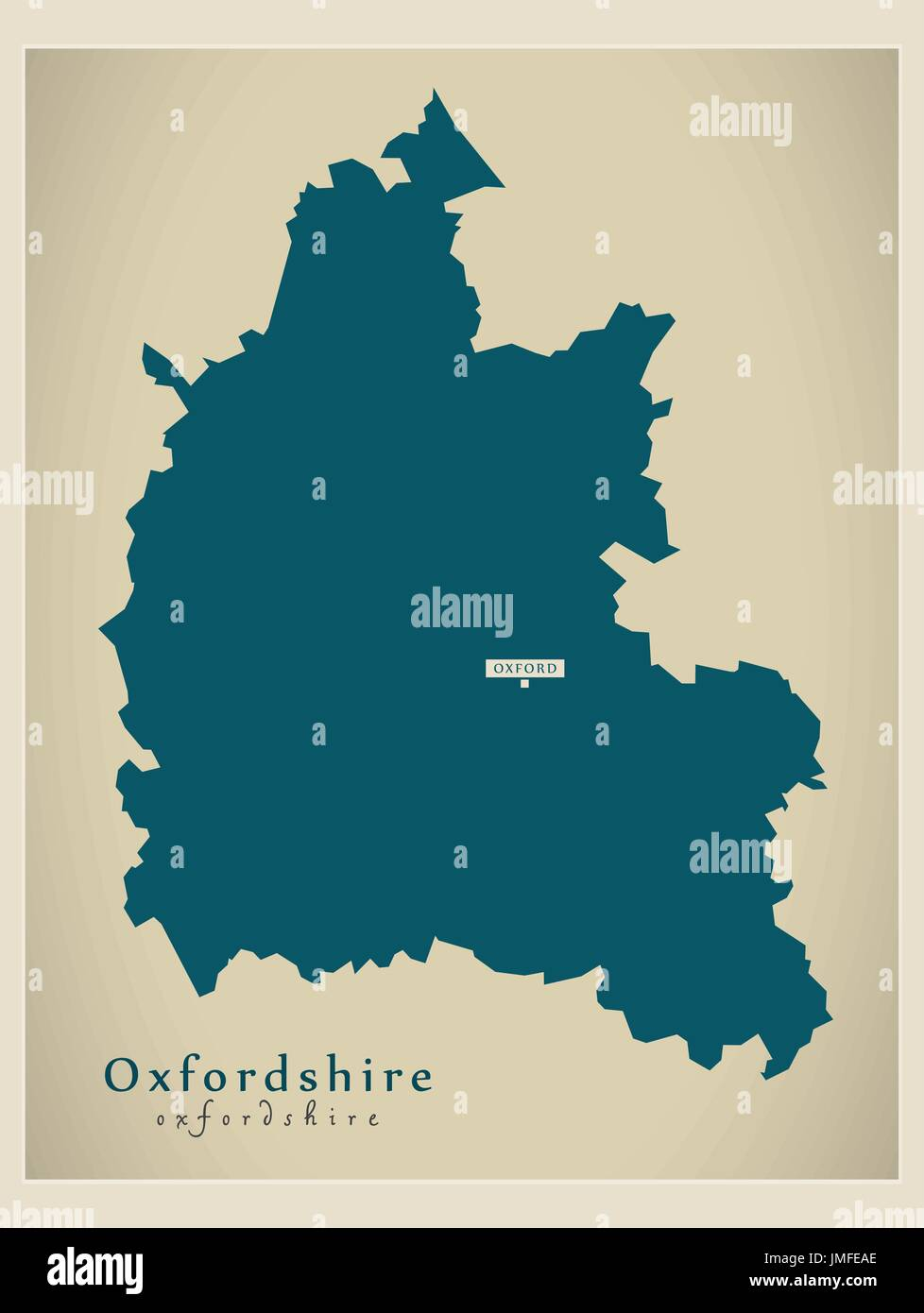 Modern Map Oxfordshire County England Uk Illustration Stock Vector