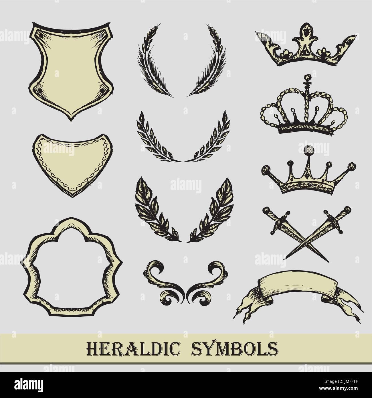 Heraldic Symbols Hand Drawing Vector Stock Vector Art
