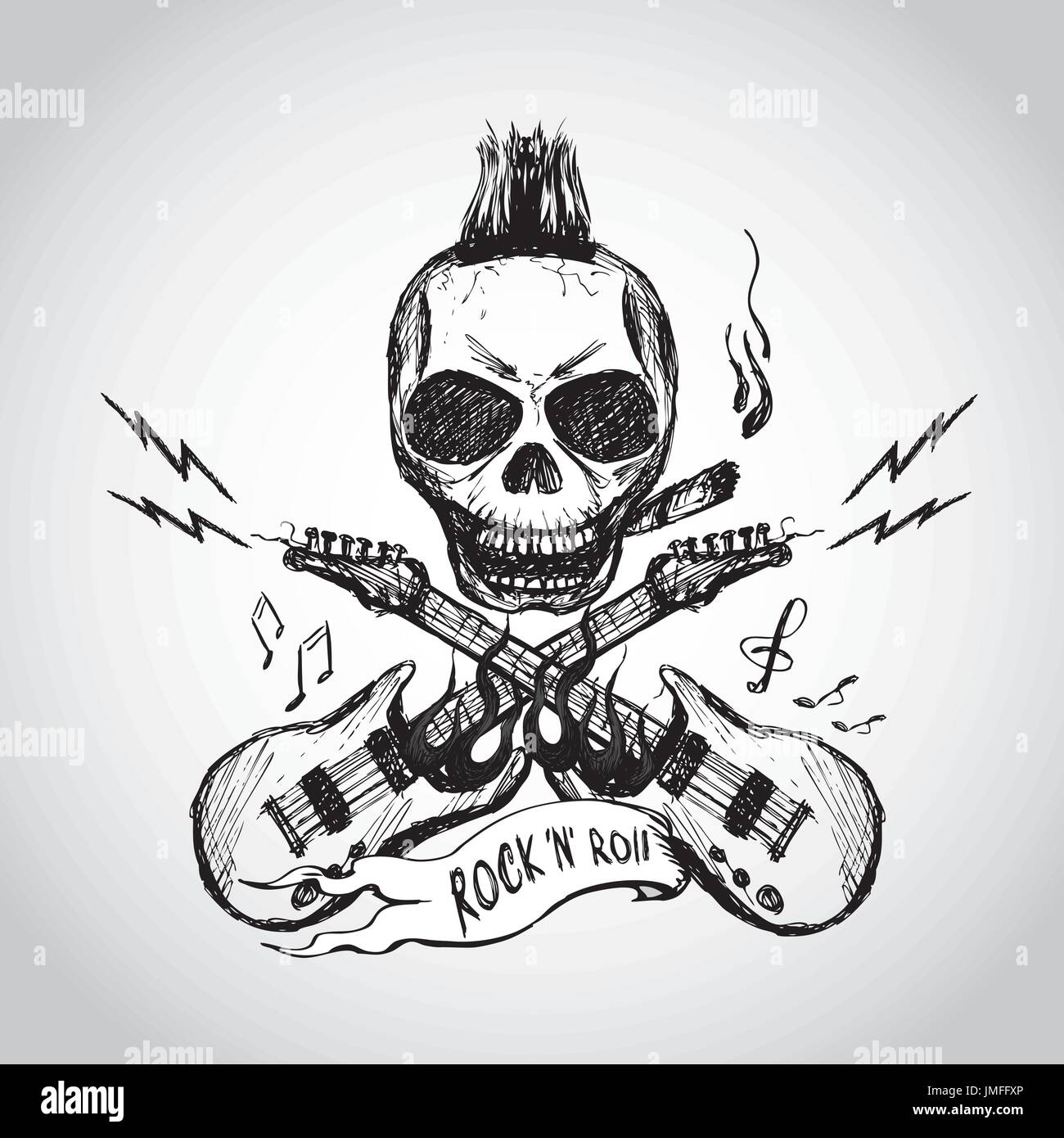 Rock And Roll Skull Guitar Hand Drawing Vector Stock